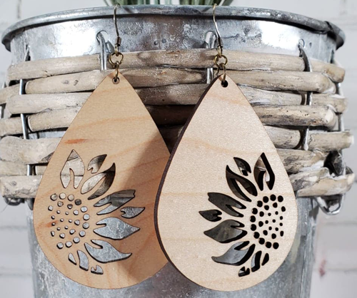 Filled Wooden Sunflower Earrings  ~ 2 Colors
