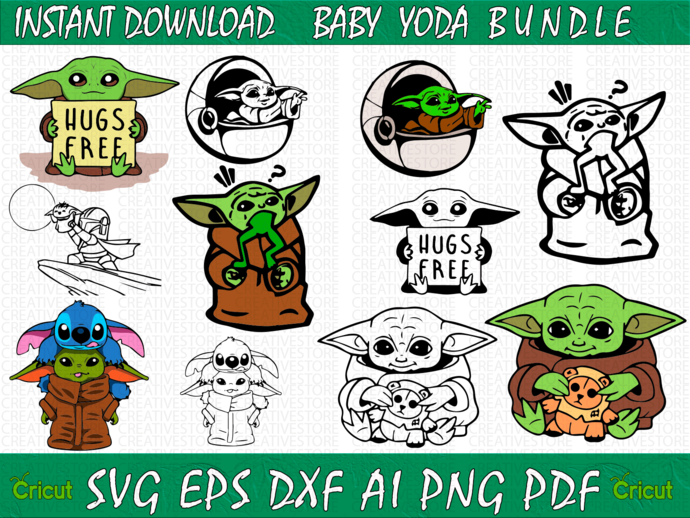 11 IN 1 Baby Yoda SVG Bundle, Star Wars svg, Baby Yoda sticker, Baby Yoda Mug