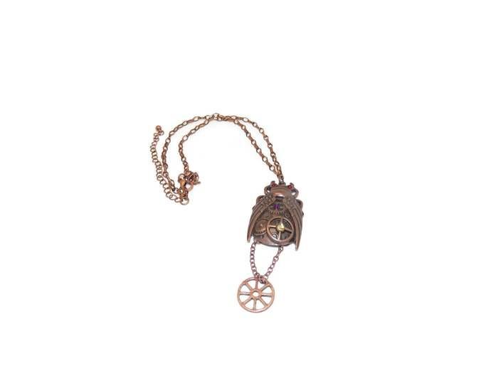 Winged beetle necklace| Beetle necklace| Beetle jewelry