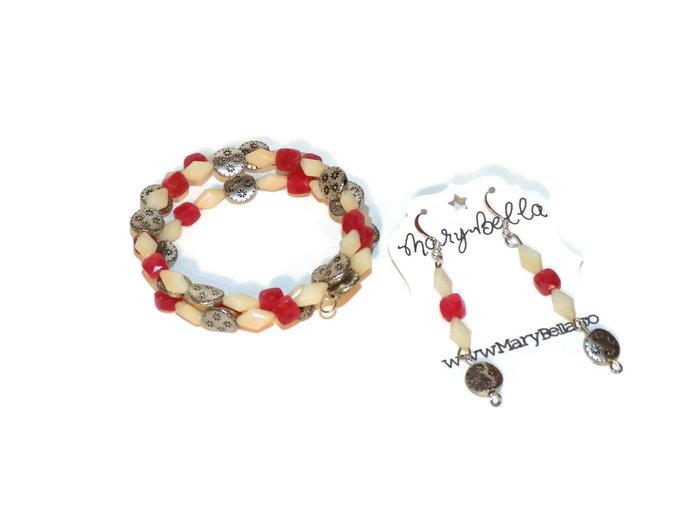 Pink wrap bracelet| memory wire bracelet beaded