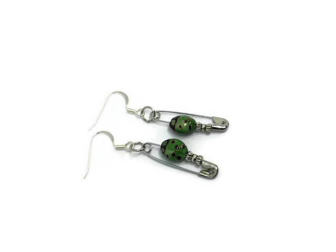 Safety pin earrings  gift for seamstress