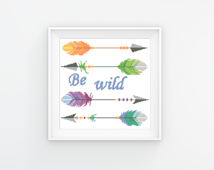 #17 Arrows Be wild Modern Cross Stitch Boho style colorful arrows embroidery,