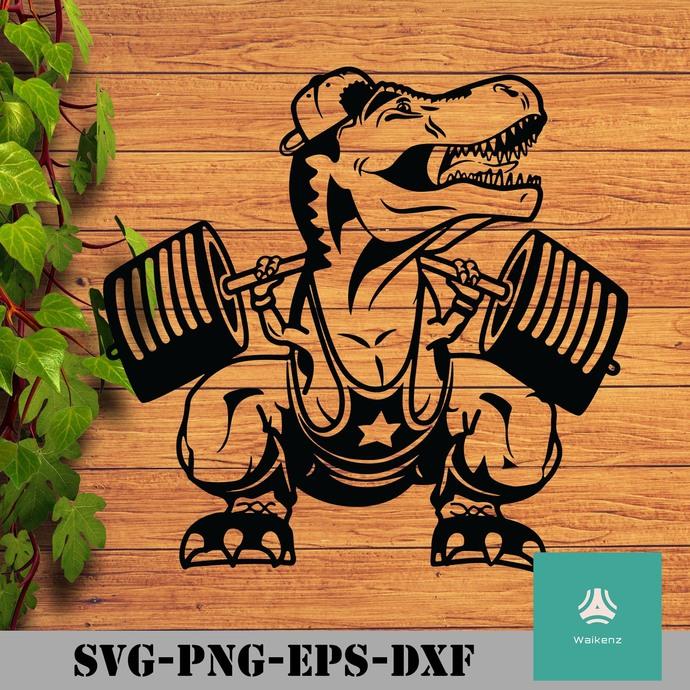 T-rex Athlete dumbbell svg, png, dxf, eps digital file
