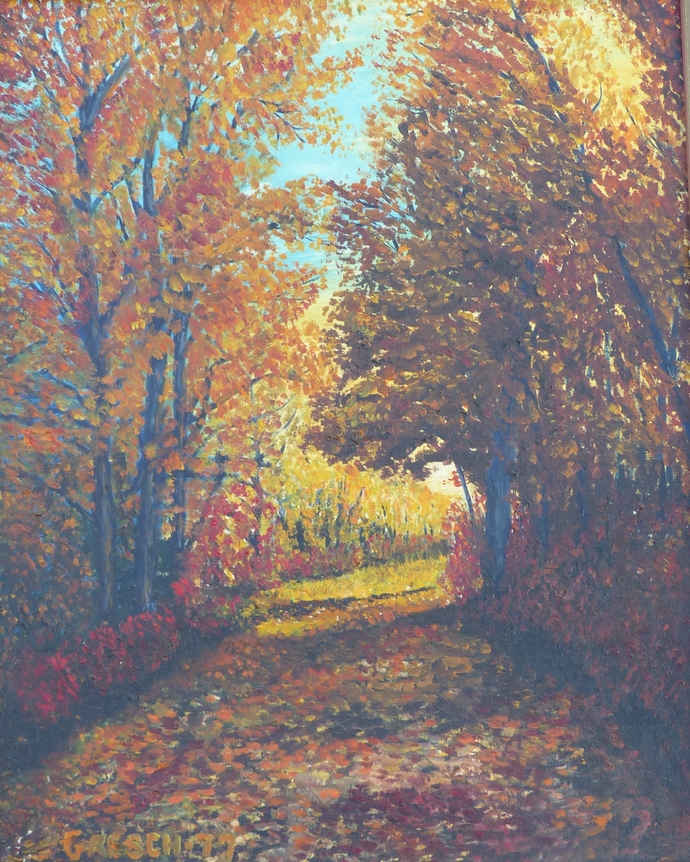 Oil Painting Print, 5x7 art print, autumn forest, wall art print, gift for him