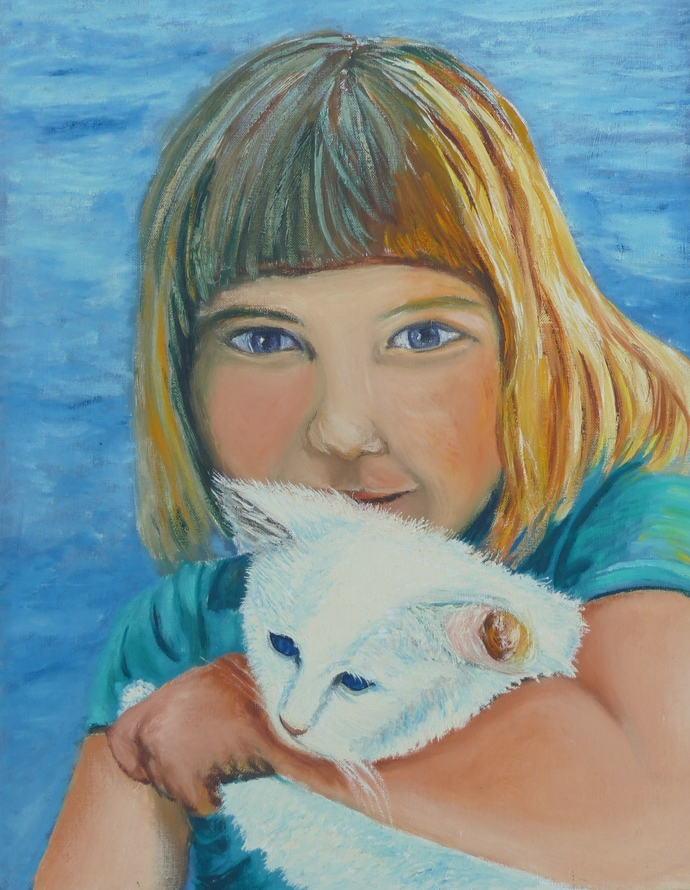 Oil Painting Print, 5x7 art print, child with cat, wall art print, gift for him