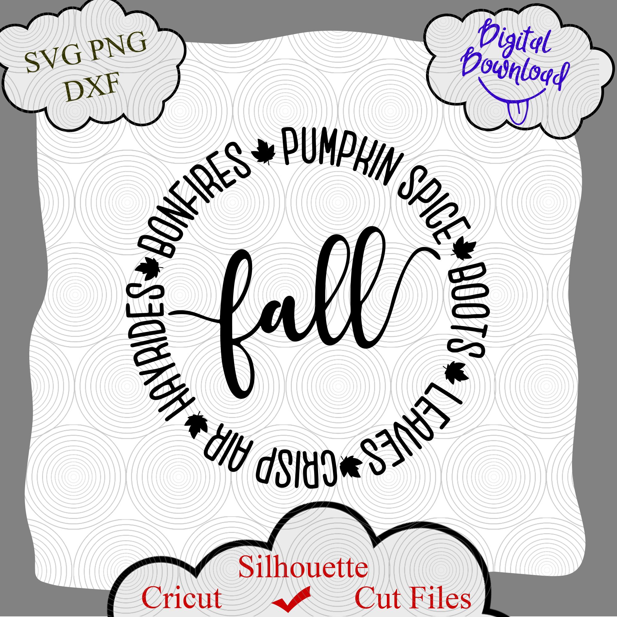 Fall Things Circle Digital SVG, Fall Things Circle cricut, Fall Things Circle