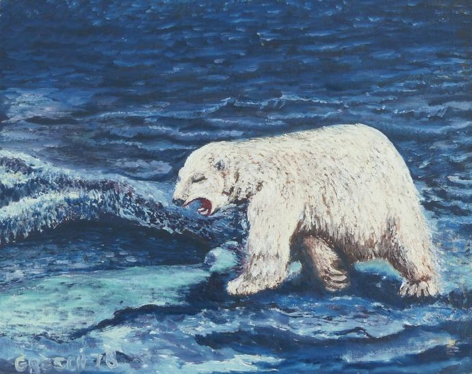 Oil Painting Print, 5x7 art print, polar bear print, wall art print, gift for
