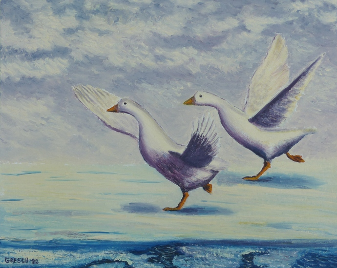 Oil Painting Print, 5x7 art print, geese in winter, wall art print, gift for him