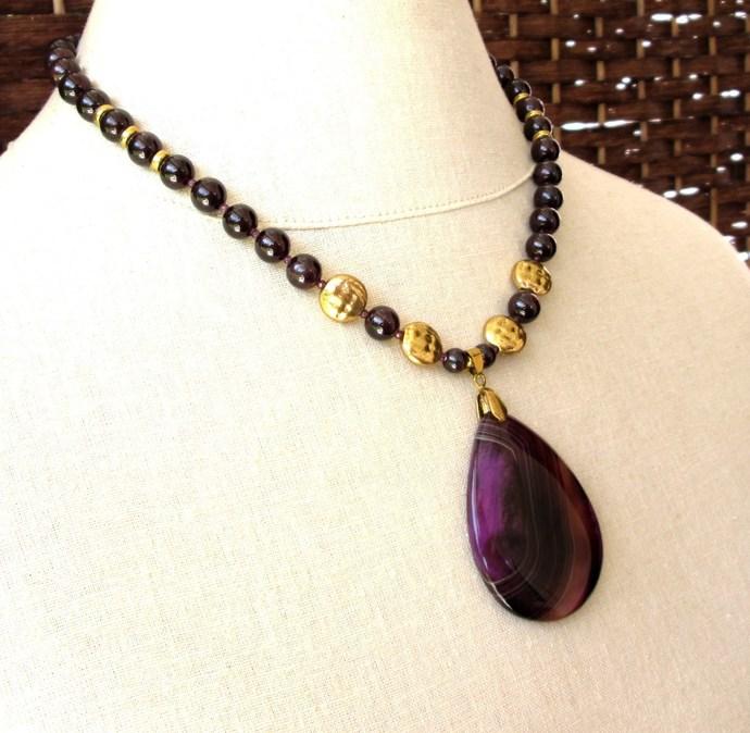Elegant jewel tone garnet and agate necklace, deep purple garnet with purple