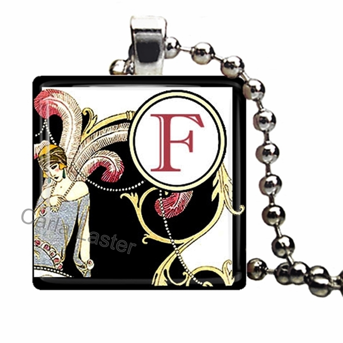 Art Deco flapper style necklace, personalized jewelry, Initial pendant,