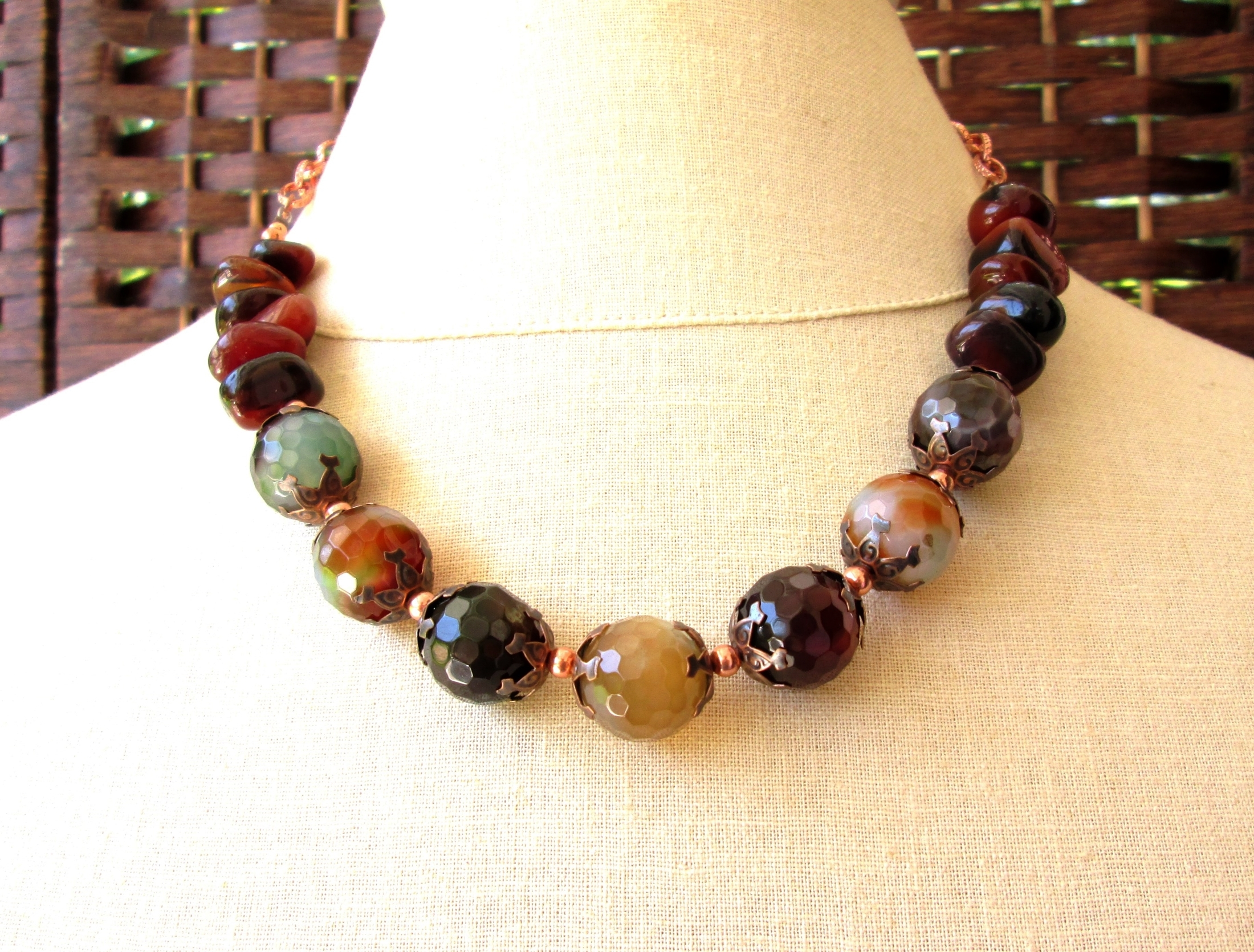 Chunky faceted agate natural stone necklace for Fall, autumn fashion, warm