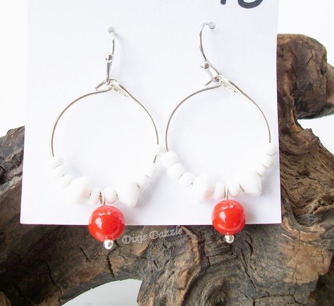UT Knoxville school spirit earrings, orange and white hoop earrings