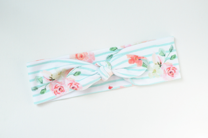 Adult Retro Bow Headband - Watercolor Floral on Stripe