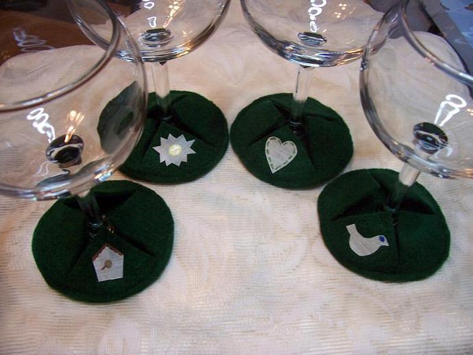 Green Wine Glass Booties