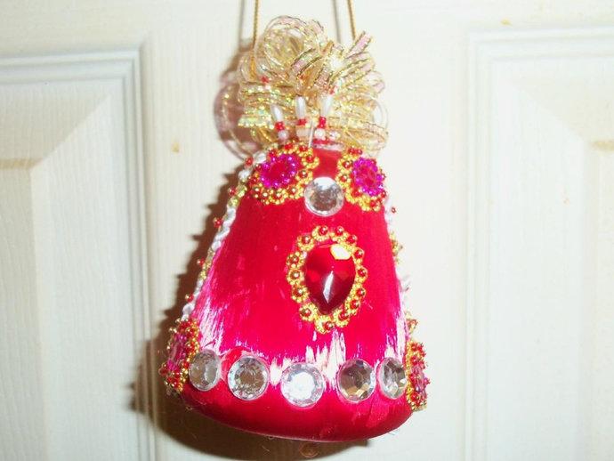 Silk Red Bell Christmas Ornament Handmade