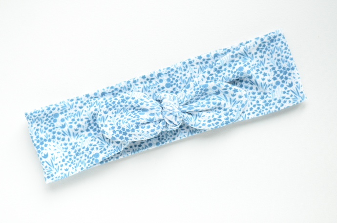 Adult Retro Bow Headband - Blue Meadow