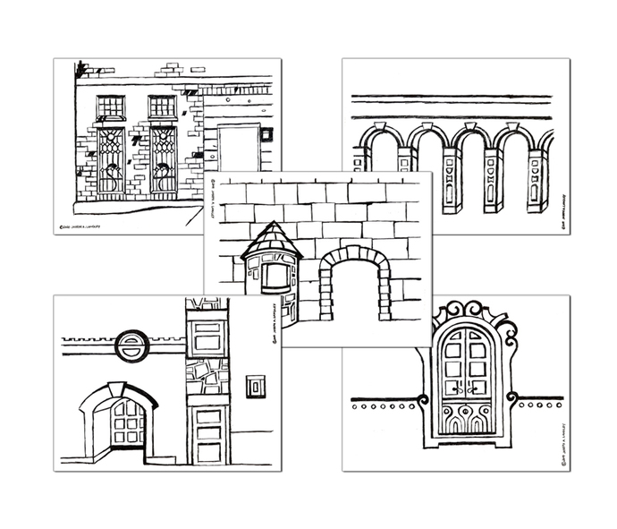 Downloadable and printable architecture-themed hand-drawn coloring sheets