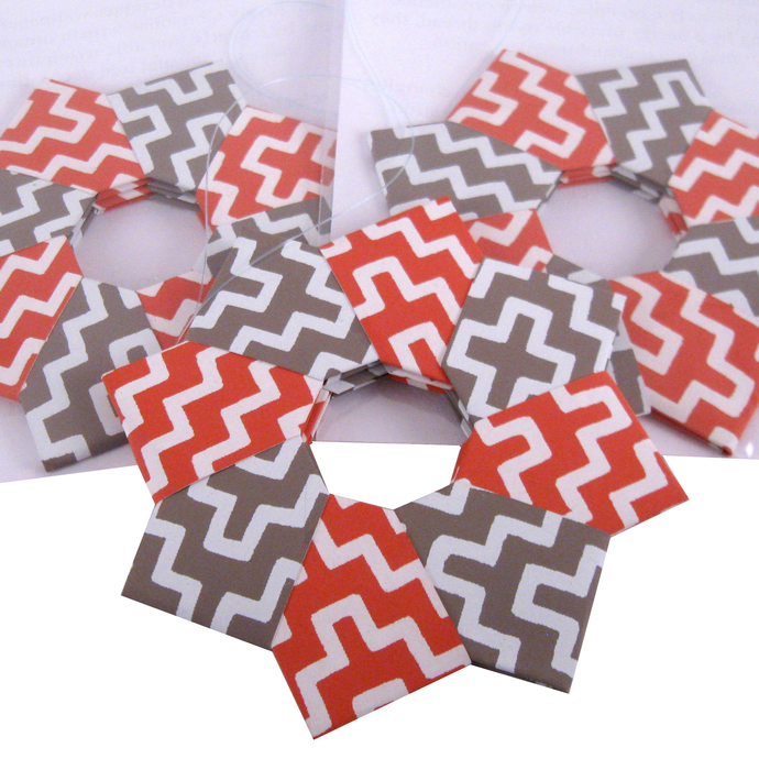 Orange Gray Christmas Ornament Origami Wreath Recycled Wallpaper