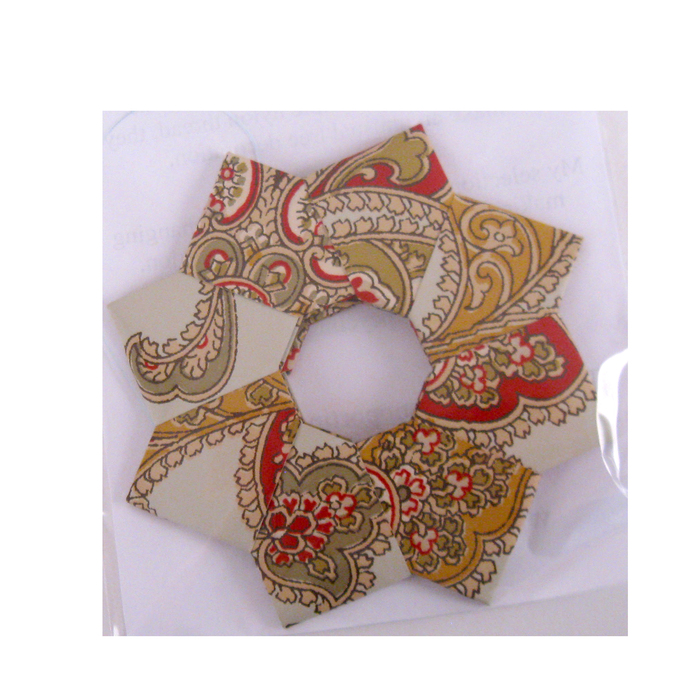 Red Yellow Green Paisley Print Wallpaper Christmas Ornament Origami Wreath