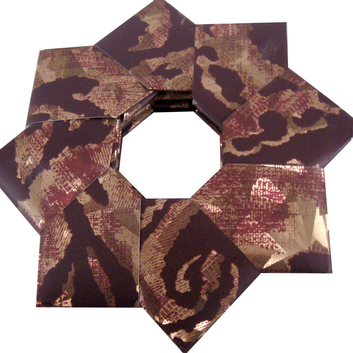 Christmas Ornament Origami Wreath Purple Gold Print Wallpaper