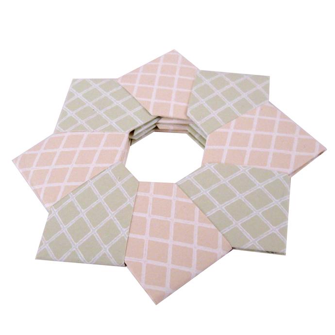 Christmas Ornament Origami Wreath Beige Green Wallpaper