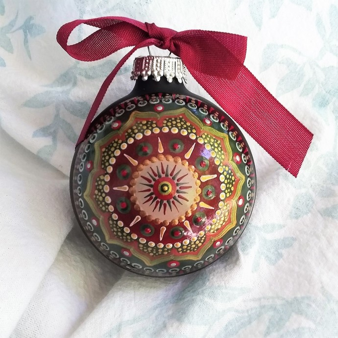 Mandala Ornament- Hand painted on Matte Black Glass in Holiday Colors