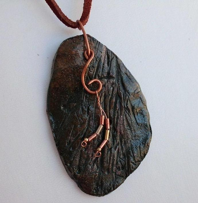 Large Stoneware Pendant with Copper Wire and Beads