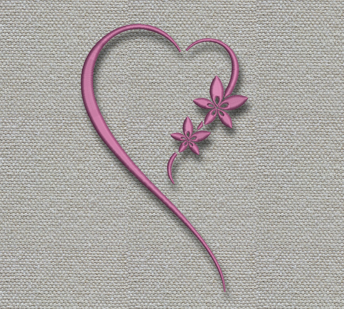 Heart Flowers Embroidery machine designs wedding pattern heart marrried instant