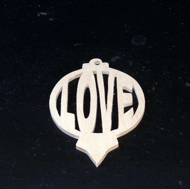 Love Wood Ornament Unfinished Wood Stk No CO-7