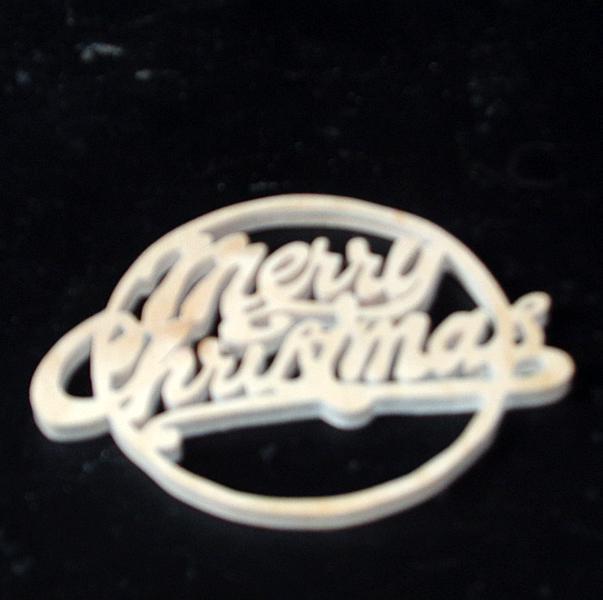 Merry Christmas Wood Ornament Unfinished Wood Stk No CO-9