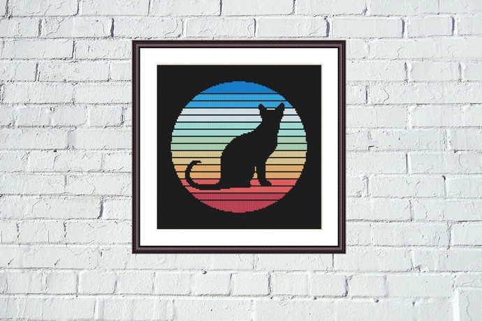 Cute black cat silhouette cross stitch pattern Sunrise background embroidery