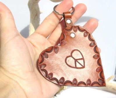 Love and Peace Leather key chain/holder