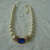 vintage Marvella signed large pearls blue clear crystal pave centerpiece