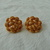 vintage Monet signed gold granulation weave button clip on earrings