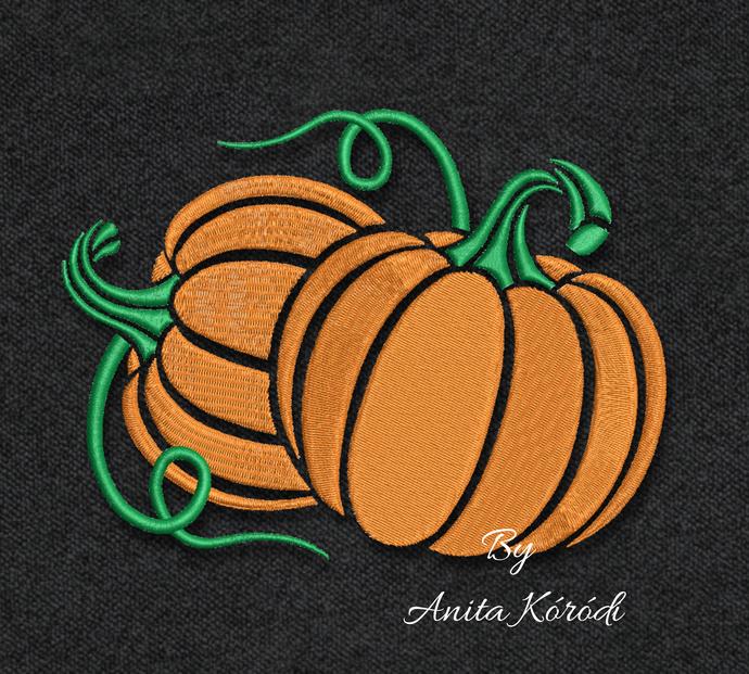 Pumpkin Embroidery Machine Design Pes Fall Halloween Thanksgiving Instant