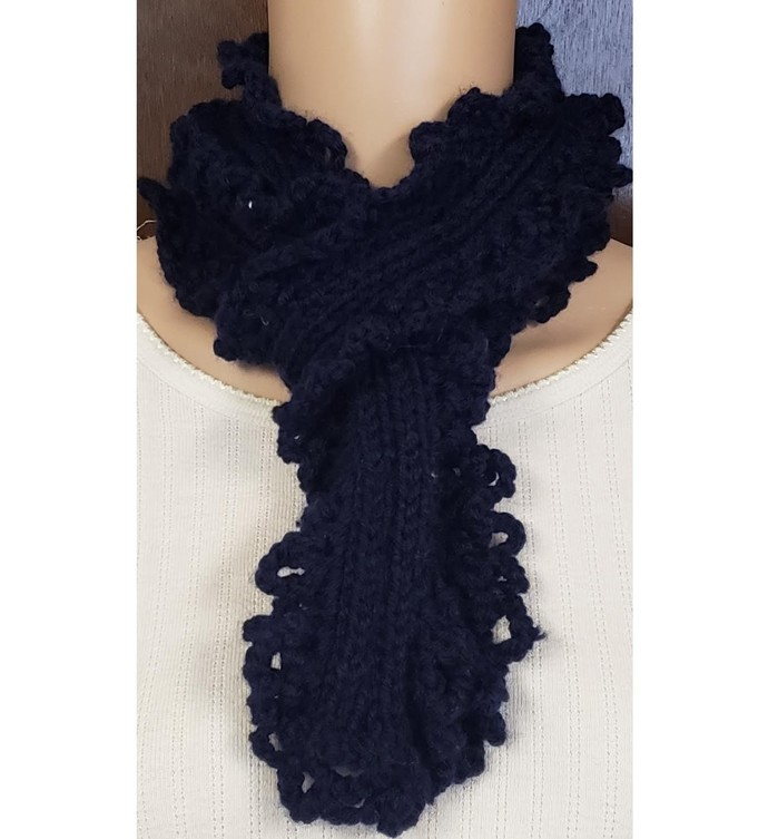 Navy Blue Lacy Scarf Hand Knit