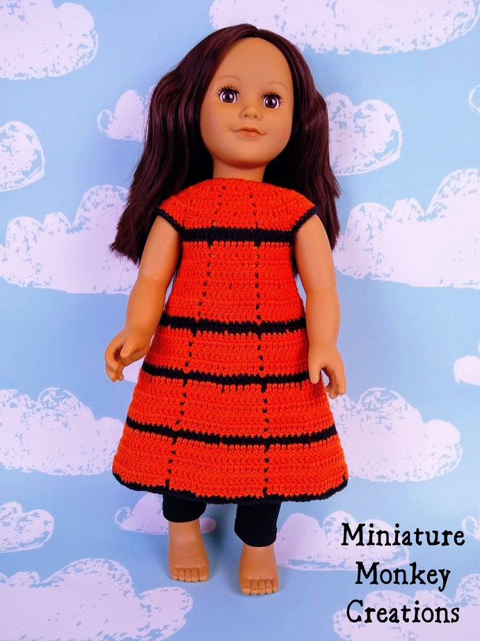Witch Outfit for 18 Inch Doll in Orange and Black