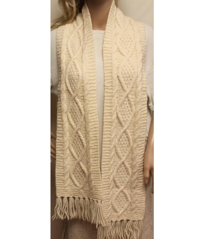 Cream Hand Knit Scarf