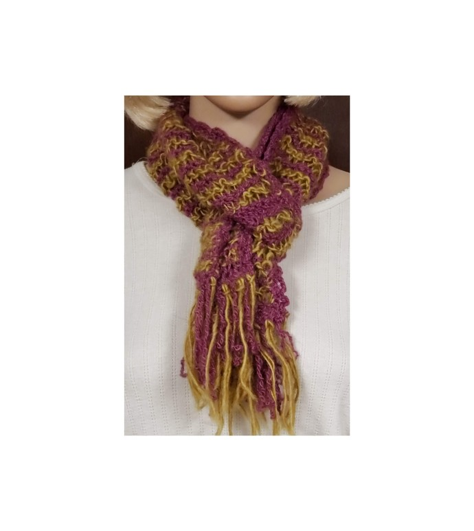 Wool Scarf Hand Knit Gold and Magenta