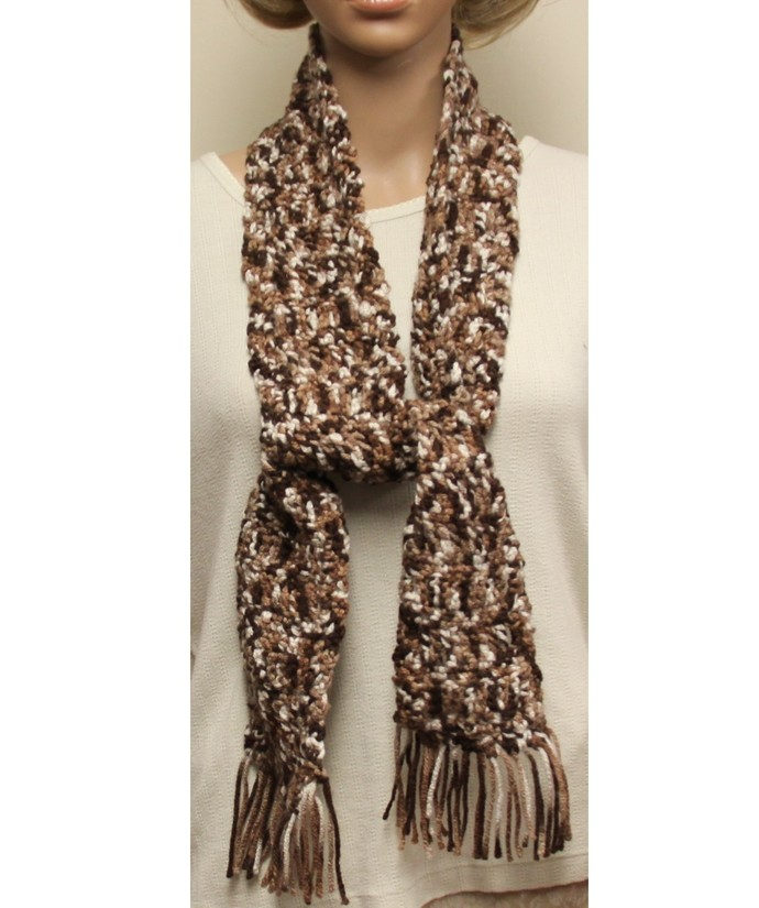 Tan Brown and White Scarf Hand Crocheted