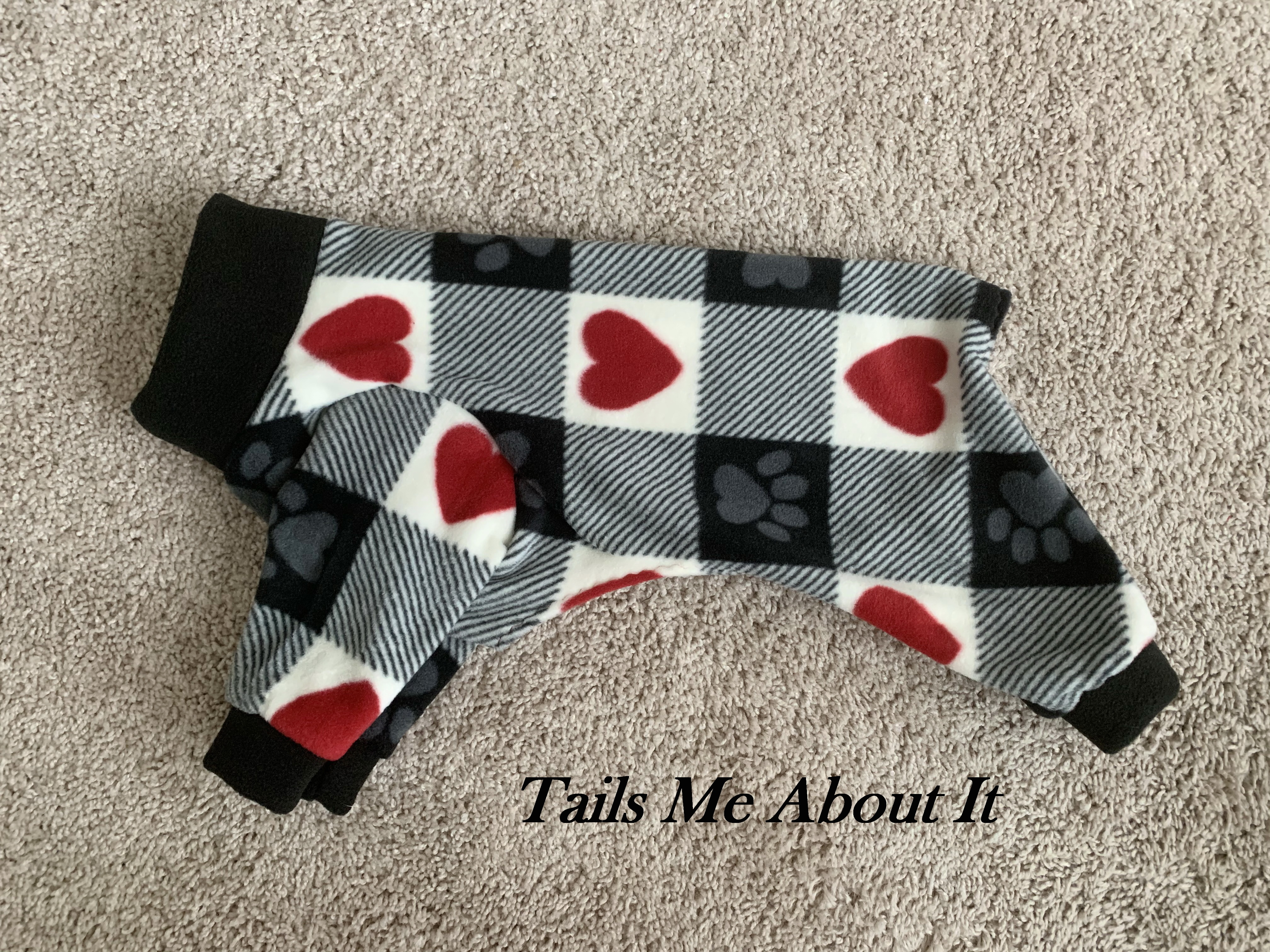 Checkered Hearts Fleece Pajama -