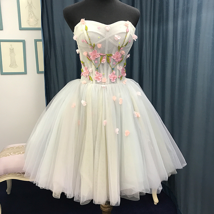 Blue Tulle Short Cute Homecoming Dress, Flowers Tulle Prom Dress