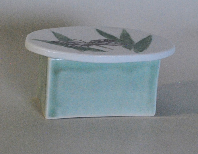 Small Porcelain box rectangular bottom with oval top and dragon fly design.