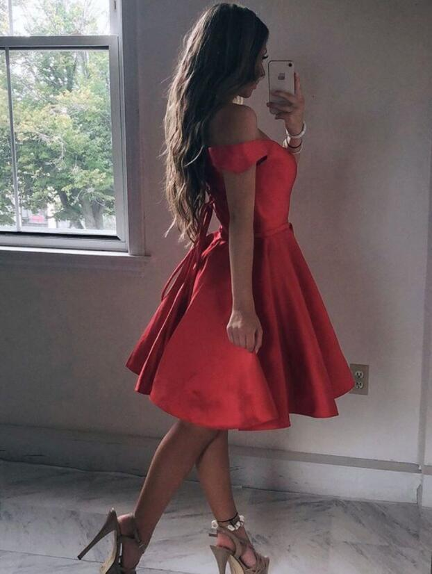 Red Satin Knee Length Off Shoulder Simple Homecoming Dress, Red Prom Dress