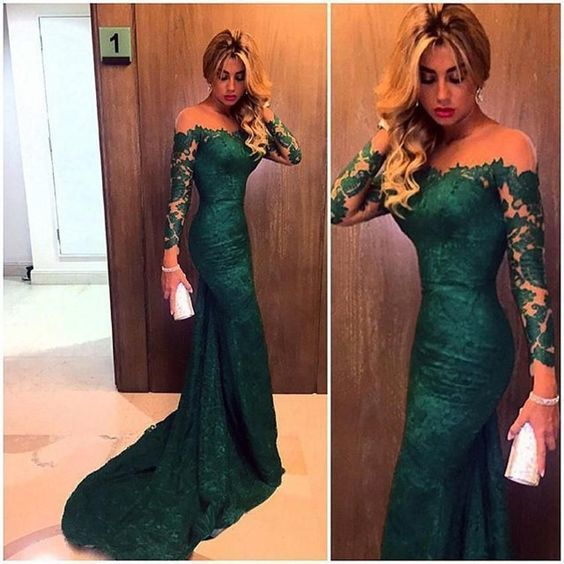 green lace applique evening dresses long sleeve mermaid modest simple elegant