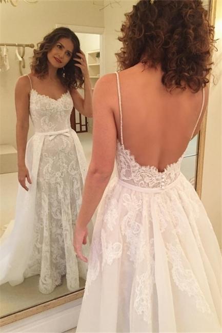 spaghetti strap a-line wedding dresses for bride lace applique detachable skirt