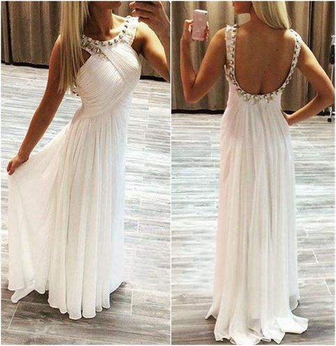 white chiffon prom dresses long beaded halter backless a-line cheap prom gown