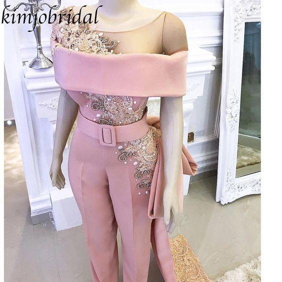 rose pink bridal jumpsuit for women beaded applique short sleeve elegant pant