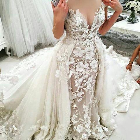 handmade flowers lace applique wedding dresses with detachable skirt robe de