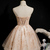 Light Champagne Lace Knee Length Party Dress, Cute Short Lace Beaded Homecoming